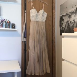 La Femme prom dress champagne with pearls